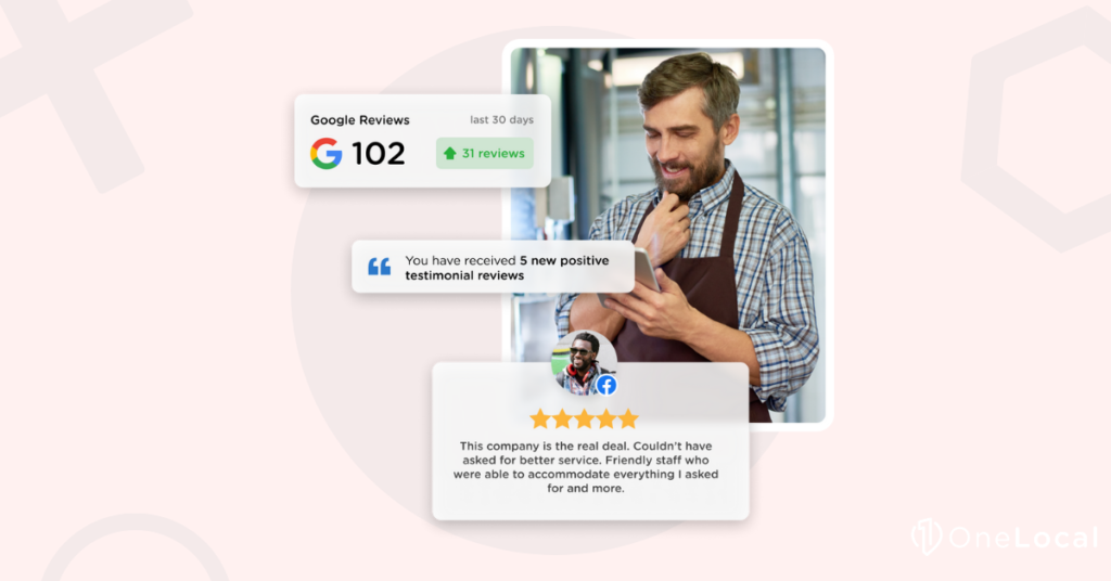 Smiling man reads new Google reviews on cell phone