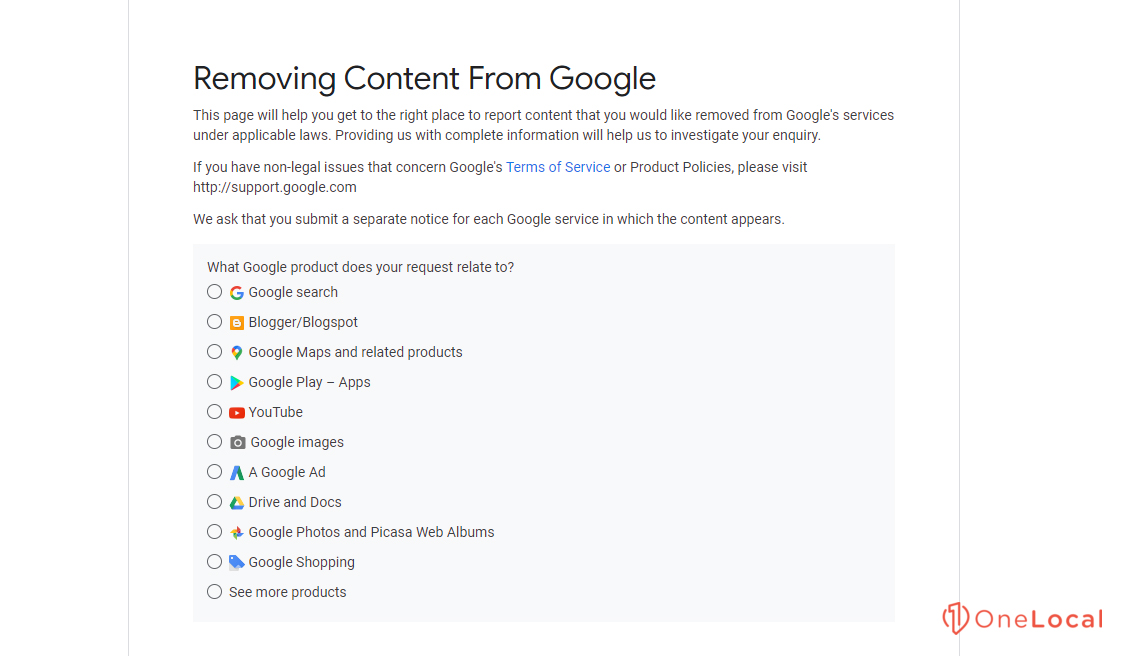 Removing Content from Google Page